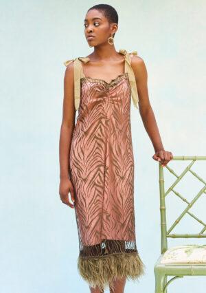 BN008 Miss Simpson Slip Dressed with Feathers Kahki BN005 Blush Slip Blush