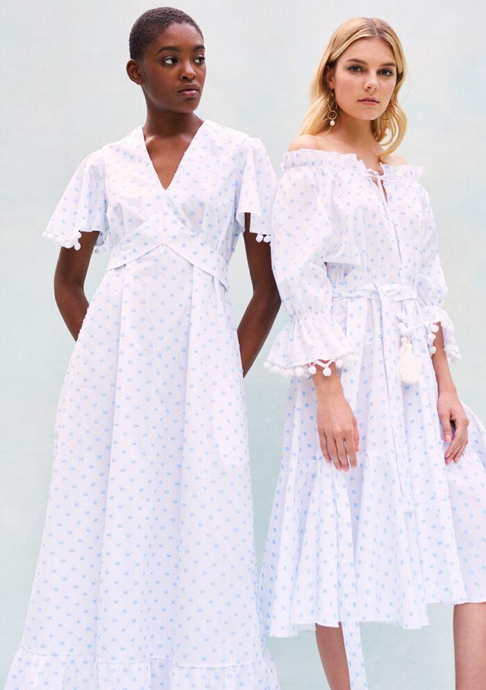 BN010 - Plumerella Pyjama Dress in Swiss Cotton - Blue Spot Cotton BN003 - Pyjama Baby Doll Dress in Swiss Cotton - Blue Spot Cotton