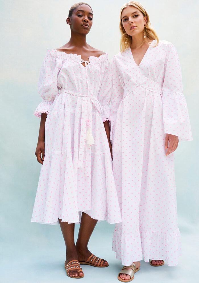 BN003 - Pyjama Baby Doll Dress - BN011 - Long Sleeve Plumerella Pyjama Dress. Both in Pink Swiss Spot Cotton