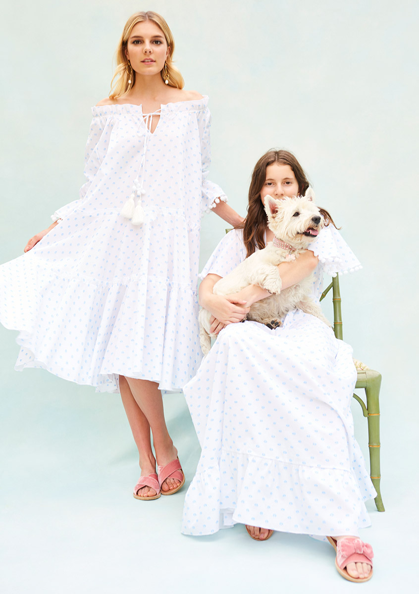 BN003 Pyjama Baby Doll - BN010 Plumerella Pyjama Dress - Both in Blue Dot Swiss Cotton