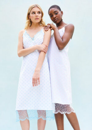 BN012 Côte D'Azur Slip Dress in Swiss Spot Cotton with Spot Tulle Trim White / Blue or White / Pink