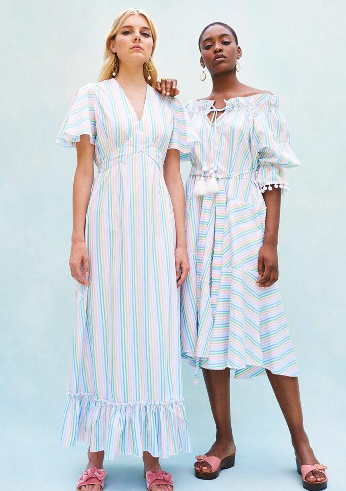 BN010 Plumerella Pyjama Dress BN003 Pyjama Baby Doll Dress Both in Swiss Cotton Candy Stripe