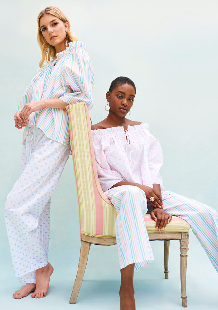 BN015 Baby Doll Pyjama Top Candy Stripe or Pink Spot Cotton BN014 Pyjama Pants Blue Spot Cotton or Candy Stripe