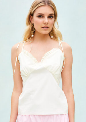 BN019 Frilly Cami in Satin Cotton Cream - BN016 Frilly French Knickers Bubblegum