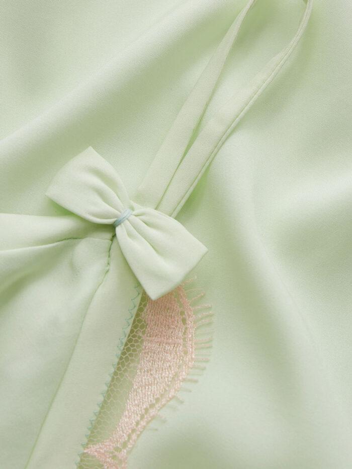 Mint Silk Slip Dress with blows