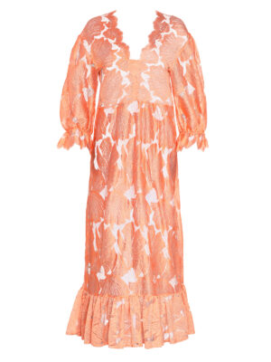Shell Tulle Dress Nude with Long Sleeves