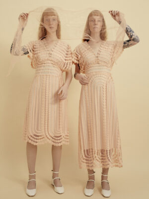 VL 002 Cappachiono dress long & short in pink bubble tulle long with pink lining slip