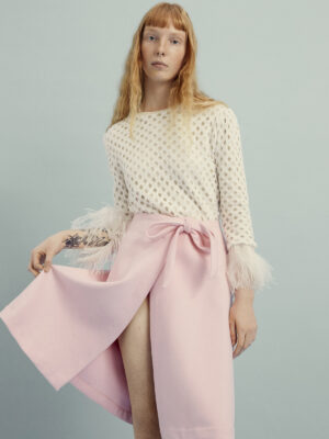 VL 008 Angel chenille fluffy ostrich feather sweater in white and VL 0011 Peggy Pink pure cashmere skirt VL 0012
