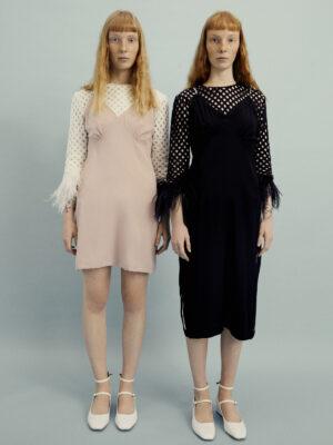 VL 006 Peggy slip dress short in pink with diamond trim