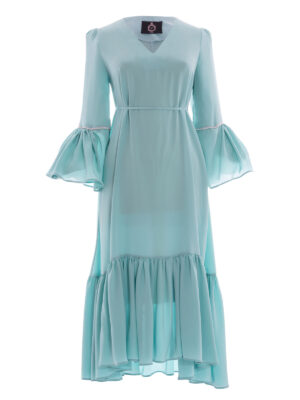 VL 001 Peggy Guggenheim long dress in jade crepe de chine with diamond trim