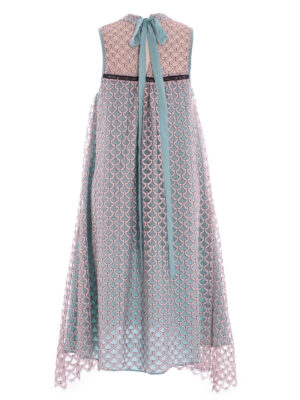 VL 0013 Gypsy dress in pink scale lace with jade silk lining & belt bow tie at back neck