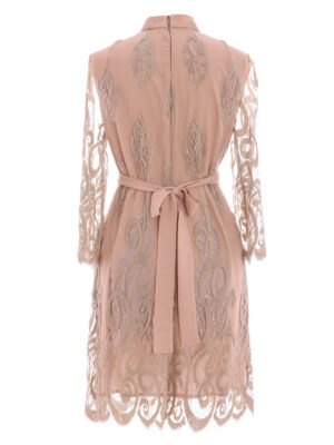 VL 003 Gondola dress in nude tulle with long sleeves