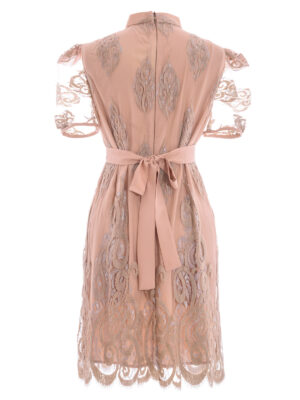VL 003 Gondola dress in nude tulle with short puff sleeves