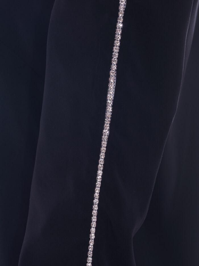 VL 004 Peggy pyjama top with diamond trim in noir