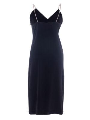 VL 006 Peggy slip dress long with diamond trim in noir