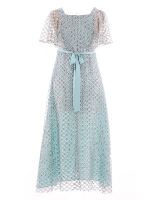 VL 007 Venetian dress in jade scale lace long with jade lining