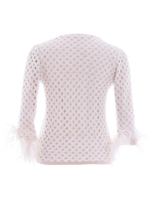 VL 008 Angel chenille fluffy ostrich feather sweater in noir and white