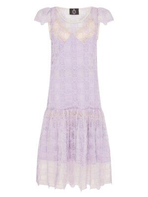 BL003 Palma violet crochet lilac short sleeve dress with blossom lilac silk satin slip