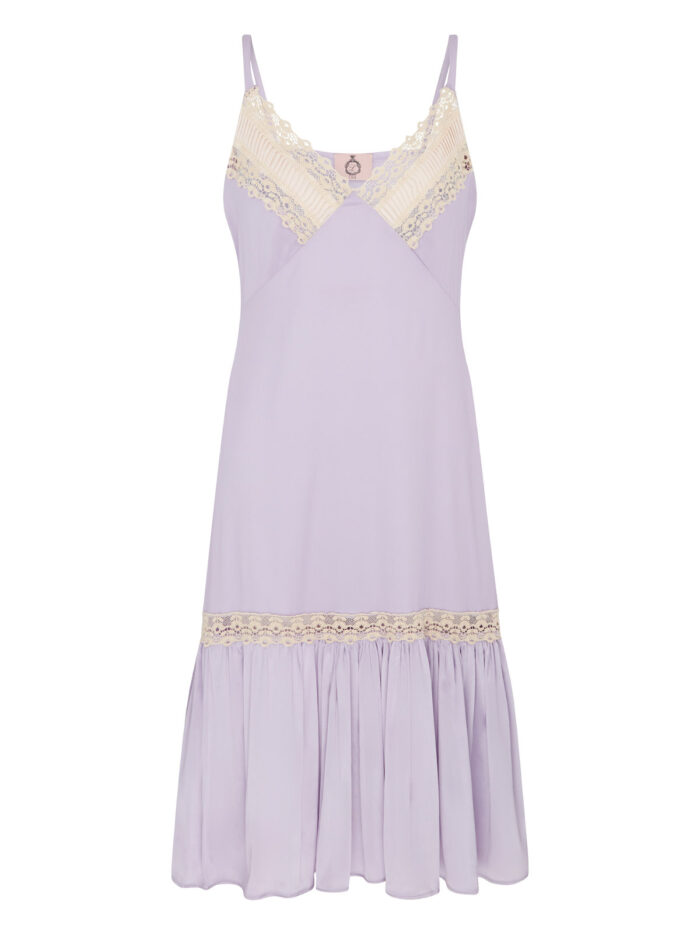 Blossom lilac silk satin slip dress with pleat detail on bust