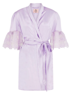 Blossom house gown in lilac silk satin with crocheted cuffs