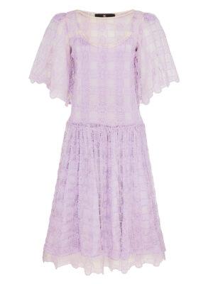 Palma violet lilac crochet long sleeve dress with lilac silk satin lining slip