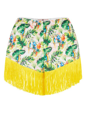 LALA 032 Tap Pants Parrot print with yelow fringing