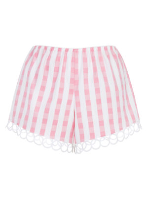 LALA 032 Tap Pants gingham pink/white guipure lace