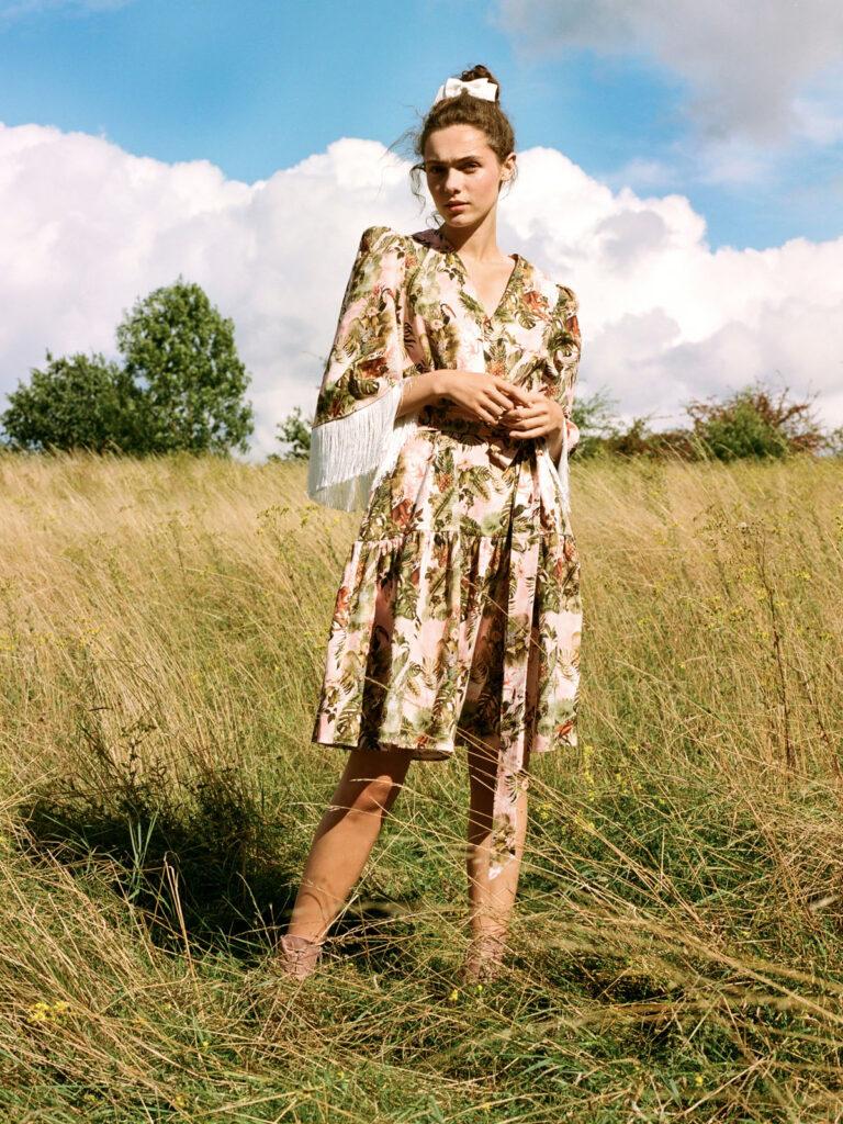 La La Dress with fringe detail sleeve