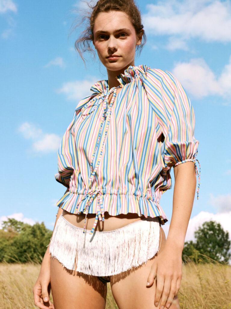 La La Lady Knickers and La La Lady Bel Air Pyjama Top Multi Stripe