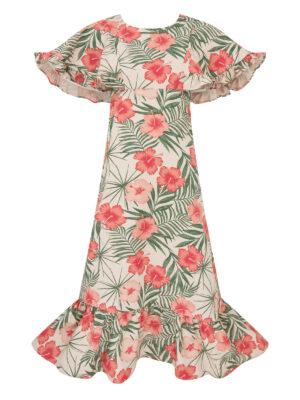 Hibiscus print Dress 100% canvas cotton