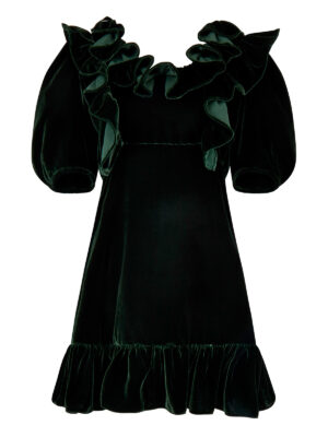 Home For The Holidays Plumy Puff Dress Long in Green