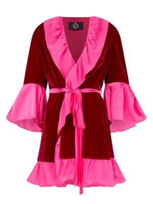 House Coat In Raspberry Silk Velvet and Hot Pink Silk
